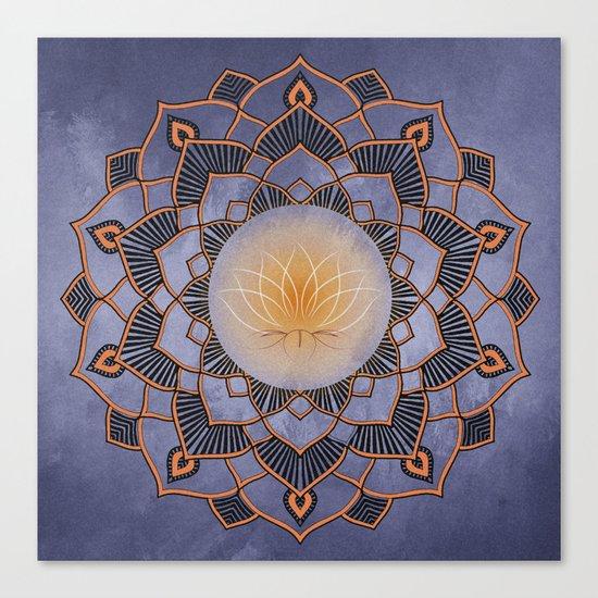 Orange Lotus Flower Mandala On A Textured Blue Background Canvas Print