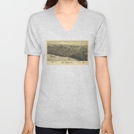 Aerial View of St. Mary's, West Virginia (1899) Unisex V-Neck