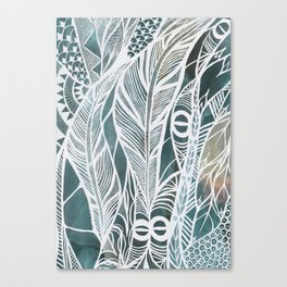 Feathery Design in Emerald Green Canvas Print
