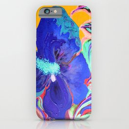Birthday Acrylic Blue Orange Hibiscus Flower Painting with Red and Green Leaves iPhone Case