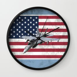 F18 Fighter Jet American Flag Wall Clock