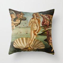 The Birth of Venus (Nascita di Venere) by Sandro Botticelli Throw Pillow