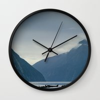 new zealand Wall Clocks featuring New Zealand  by janisratnieks