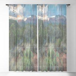 Southwest Serenade - Sunset at Sedona Arizona Sheer Curtain