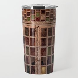Wooden stained glass door at Jodhpur Fort, India Travel Mug