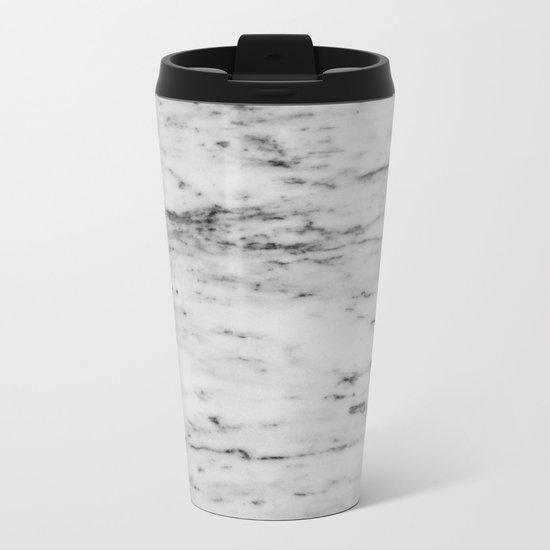 White Marble with Black Flecks Metal Travel Mug