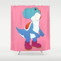 yoshi Shower Curtains featuring Yoshi Blue by bloozen