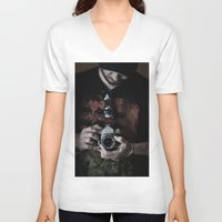 photographer V-neck T-shirts featuring photographer by caporilli