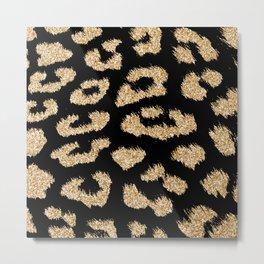Gold Glitter Leopard Spots Metal Print