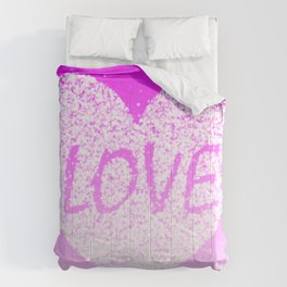 Pink Ombre Love in White Confetti Heart Comforters
