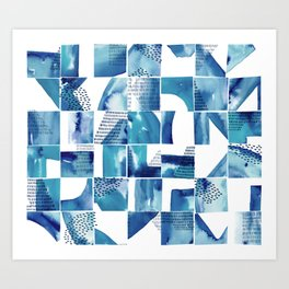 Blue Watercolor Typographical Fragments Cheater Quilt Art Print