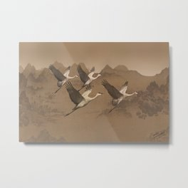 Cranes Flying Over Mongolia Metal Print