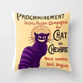 Cheshire Cat 'chat noir' poster Throw Pillow
