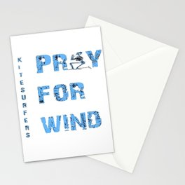 Kiteboarding Humor Kneeling Skeleton Praying For Wind Stationery Cards