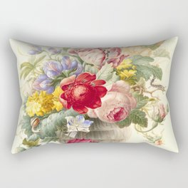 """Herman Henstenburgh """"Flowers in a Glass Vase with a Butterfly"""" Rectangular Pillow"""