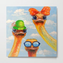 Ostriches friends Metal Print
