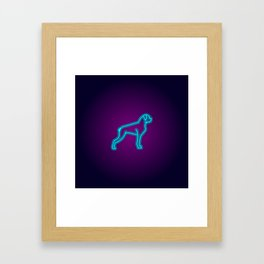 NEON BOXER DOG Framed Art Print
