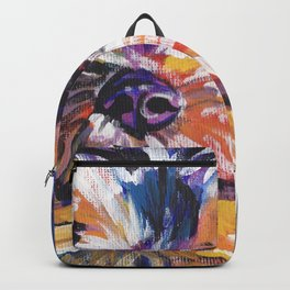 Fun Yorkie Dog Portrait bright colorful Pop Art Painting by LEA Backpack