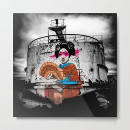 Geisha Graffiti Metal Print