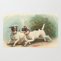 jack russell Area & Throw Rugs featuring Classic, preppy, vintage jack russell fox terrier dog puppy antique illustration art print by iGallery