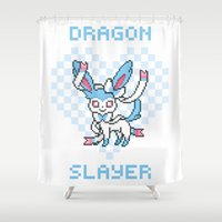 sylveon Shower Curtains featuring 8-Bit Shiny Sylveon by einjello