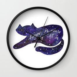 Watercolor Galaxy Cat - purple Wall Clock