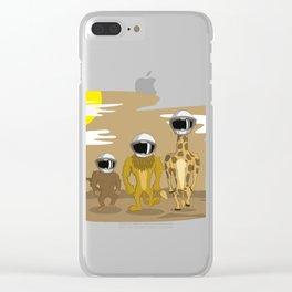 LION, MONKEY, GIRAFA WALKING TO THE MOON T-SHIRT Clear iPhone Case