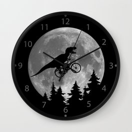Biker t rex In Sky With Moon 80s Parody Wall Clock