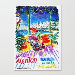 Vintage Menton France Travel Canvas Print