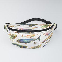 Whales and a Little Squid Fanny Pack