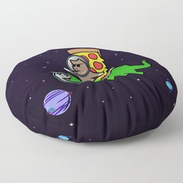 Cat And Pizza Riding Triceratops In Space Floor Pillow