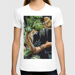Tropical Jungle Dark Forest Leopard Print Monstera Leaves Lush Green Trees Watercolor Painting T-shirt