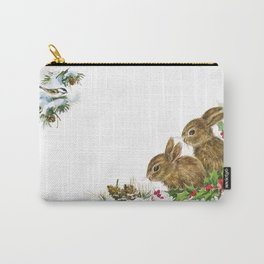 Winter in the forest- Animal Bunny Illustration Carry-All Pouch