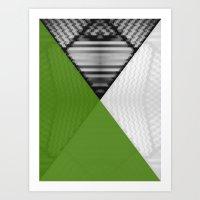 Black White and Grassy Green Art Print