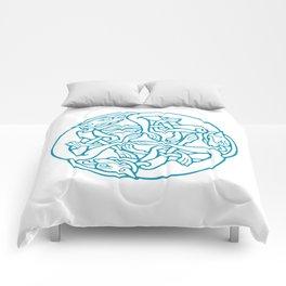St. Patrick's Day Celtic Blue Mandala #4 Comforters