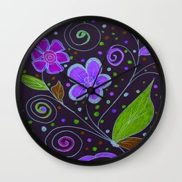 Flower Collage in Purple by Tinker Creek Designs Wall Clock