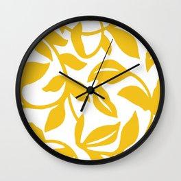 PALM LEAF VINE LEAF YELLOW PATTERN Wall Clock