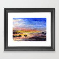 Sunset Watercolor Painting Landscape Art Framed Art Print
