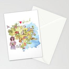 Brasil Map Stationery Cards