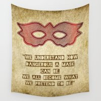 mask Wall Tapestries featuring Mask by Bluishmuse