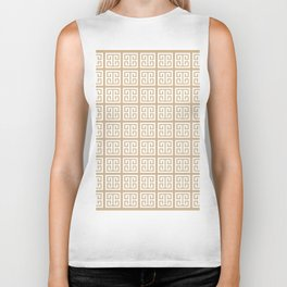 Tan Brown Greek Key Pattern Biker Tank