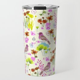 Floral & Purple Finch on Cream Background Travel Mug