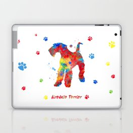 Airedale Terrier Watercolor Colorful Abstract Laptop & iPad Skin