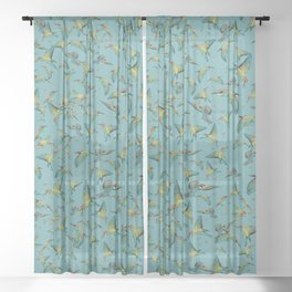 The birds and the bees pattern on blue Sheer Curtain