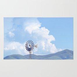 """Blue Windmill Blue Sky"" by Murray Bolesta Rug"