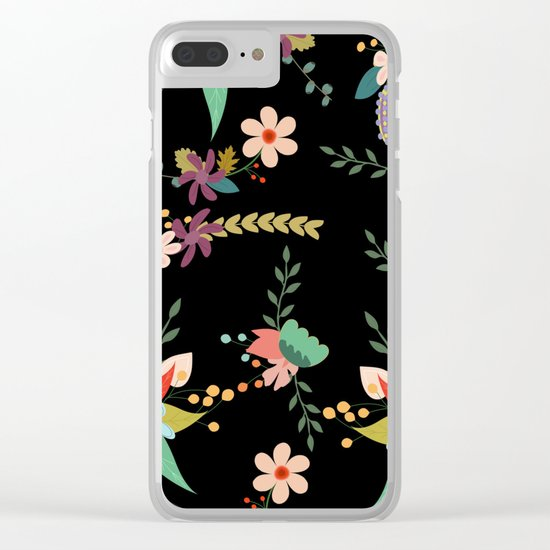 Floral pattern black Clear iPhone Case