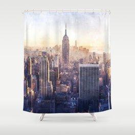 New York City Watercolor Skyline Shower Curtain