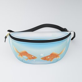 Two cute gold fishes in a fishbowl Fanny Pack
