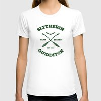 quidditch T-shirts featuring Slytherin Quidditch Team Seeker: Green by Sharayah Mitchell