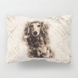 Longhaired Dachshund dog Pillow Sham